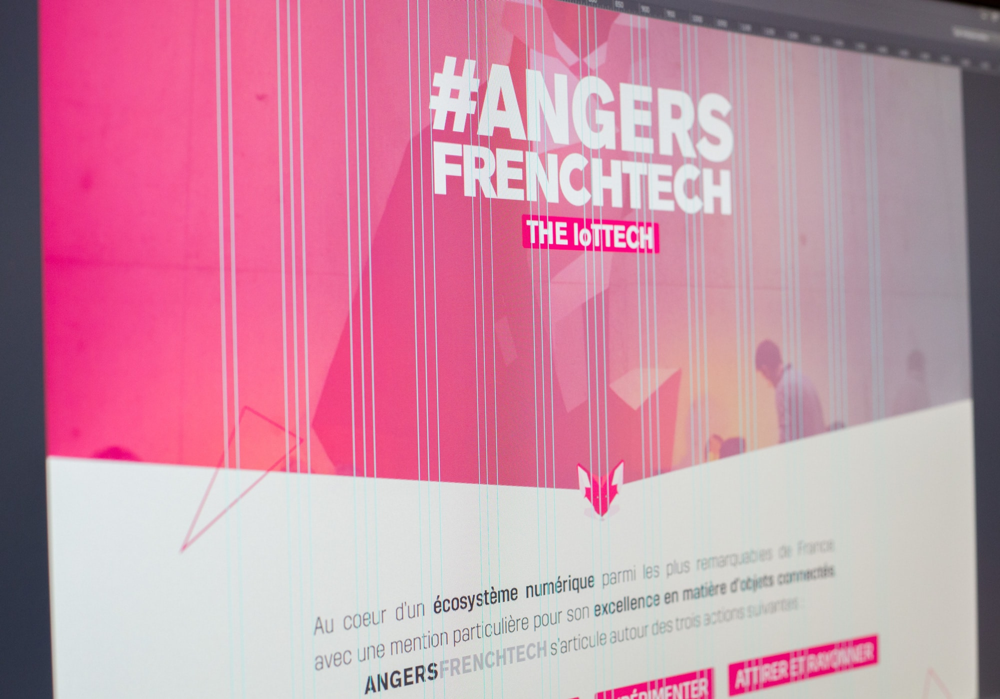 hoto d'un écran photoshop du site web Angers French Tech